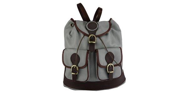 Dámský šedý kožený batoh Giulia