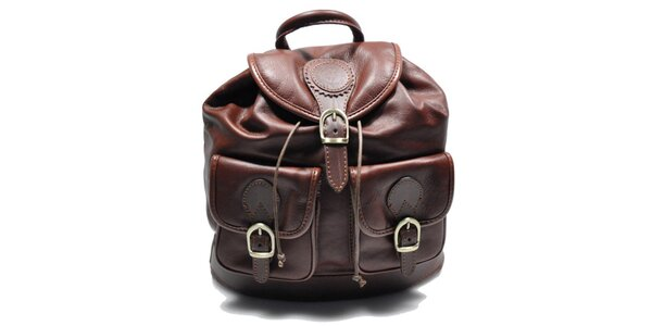 Dámský hnědý kožený batoh Giulia
