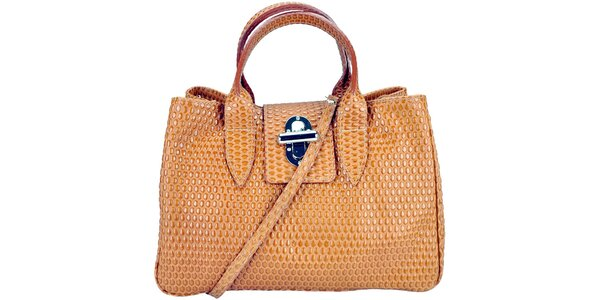 Dámská koňakově hnědá kabelka s reliéfním vzorem Giulia