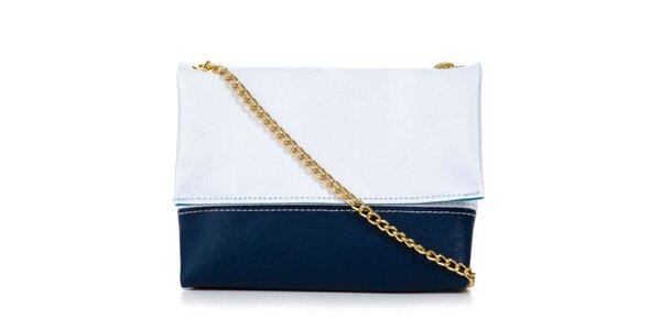 Dámská modro-bílá kabelka se zlatým řetízkem Giulia