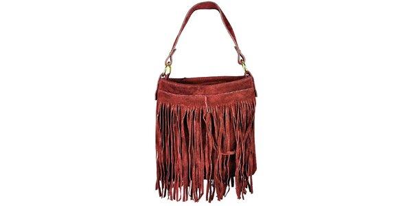 Dámská červená semišová kabelka s třásněmi Giulia