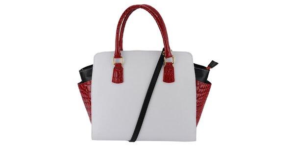Dámská bílá kabelka s červenými uchy Giulia