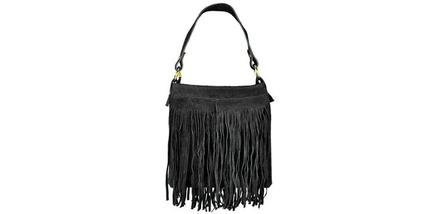 Dámská černá semišová kabelka s třásněmi Giulia