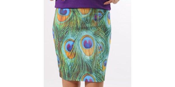 Dámská sukně s potiskem pavích per Santa Barbara