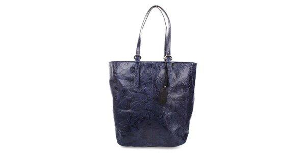 Dámská modrá shopper kabelka s reliéfním zdobením Puntotres