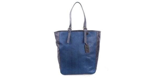 Dámská modrá shopper kabelka s matným motivem hadí kůže Puntotres