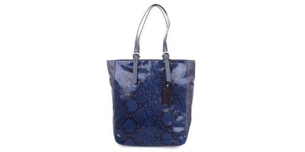 Dámská modrá shopper kabelka s lesklým motivem hadí kůže Puntotres