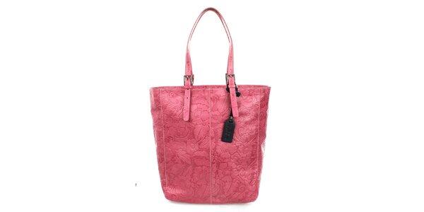 Dámská fuchsiová shopper kabelka s reliéfním zdobením Puntotres