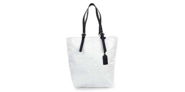 Dámská bílá shopper kabelka s reliéfním zdobením Puntotres
