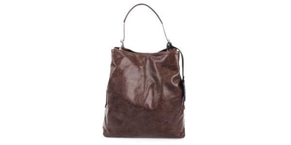 Dámská tmavě hnědá kožená kabelka Puntotres