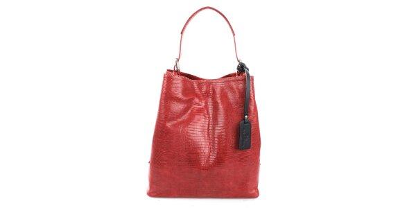 Dámská červená kožená kabelka s jemným vzorem Puntotres