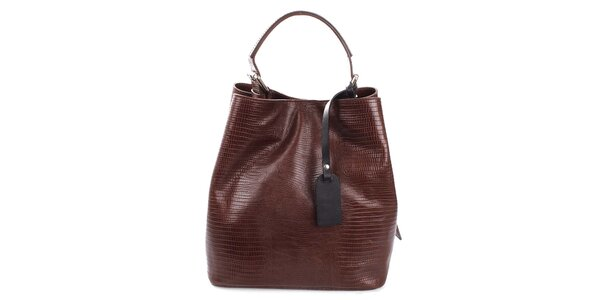 Dámská tmavě hnědá kožená kabelka s jemným vzorem Puntotres