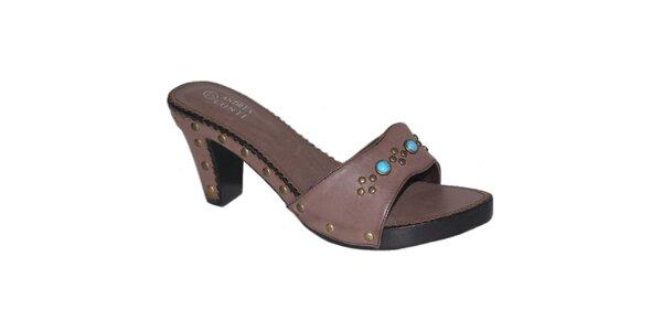 Dámské tmavě hnědé sandálky s tyrkysovými kamínky Andrea Conti