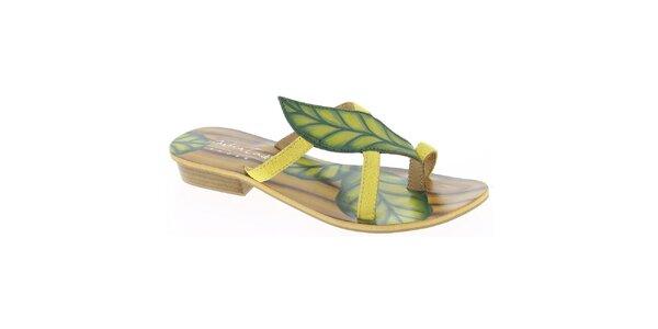 Dámské kožené žluté páskové sandálky s listem Andrea Conti