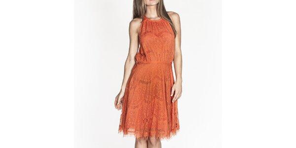 Dámské oranžové krajkové šaty Tantra