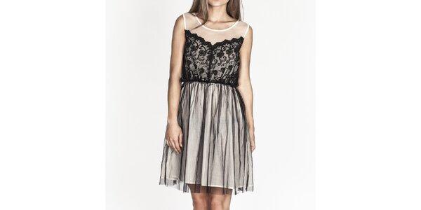 Dámské bílé šaty s černou krajkou Tantra