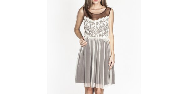 Dámské hnědé šaty s bílou krajkou Tantra