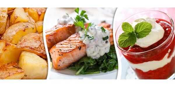 Lahodné menu pro 2 - Steak z norského lososa na grilu s přílohou včetně dezertu