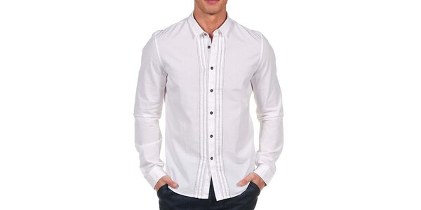 Pánská bílá košile s tenkým proužkem Calvin Klein
