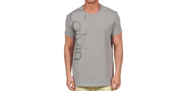 Pánské šedé tričko s krátkým rukávem Calvin Klein