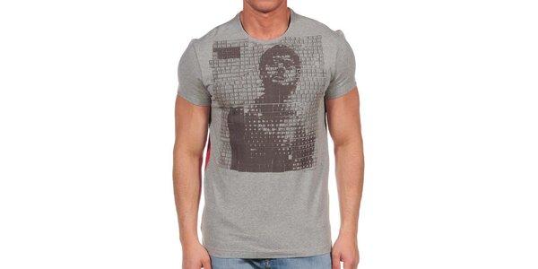 Pánské šedé tričko s červenými zády Calvin Klein