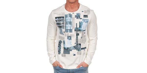 Pánské krémové tričko s dlouhým rukávem a potiskem Calvin Klein