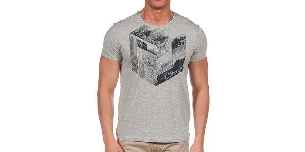 Pánské šedé tričko s krátkým rukávem a potiskem Calvin Klein