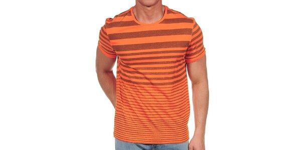 Pánské oranžové tričko s proužky Calvin Klein
