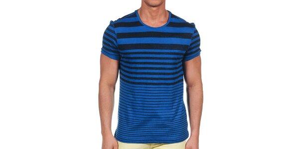 Pánské modré tričko s proužky Calvin Klein
