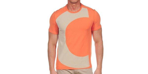 Pánské oranžové tričko s iniciálami Calvin Klein