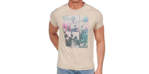 Pánské béžové tričko s barevným potiskem Calvin Klein