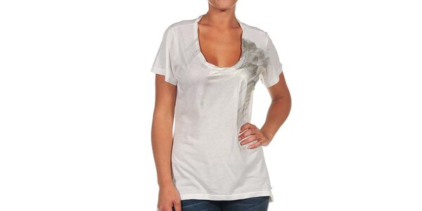 Dámské krémově bílé tričko s potiskem Calvin Klein