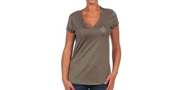Dámské hnědé tričko s logem Calvin Klein