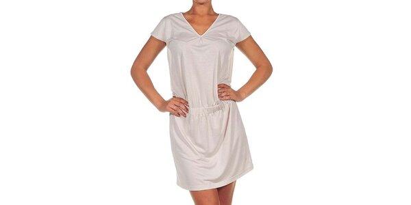 Dámské krémově bílé šaty s véčkovým výstřihem Calvin Klein