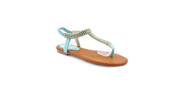 Dámské světle modré sandály s korálky Balada