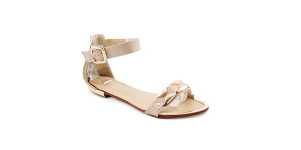Dámské béžové sandálky se zlatou aplikací Balada