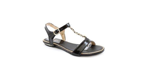 Dámské černé sandálky se zlatým zdobením Balada