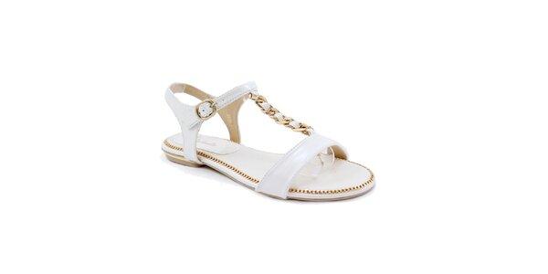 Dámské bílé sandálky se zlatým zdobením Balada