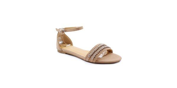 Dámské khaki sandálky s kamínky Balada