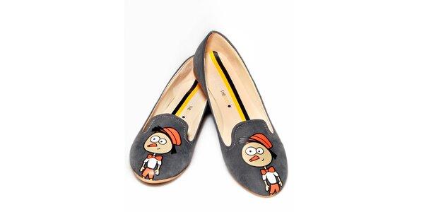 Dámské šedé loafers s Pinokiem The Bees