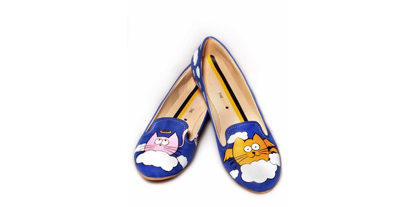 Dámské modré loafers s veselým potiskem The Bees
