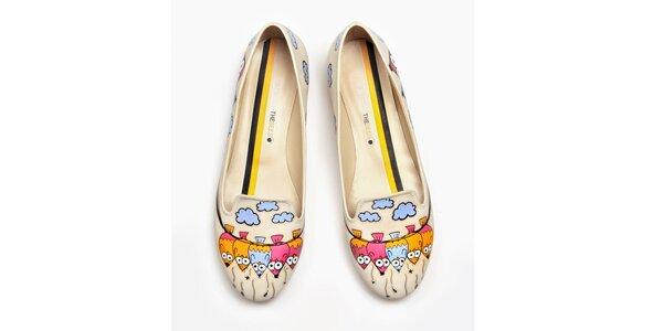 Dámské pudrové loafers s ptáčky The Bees