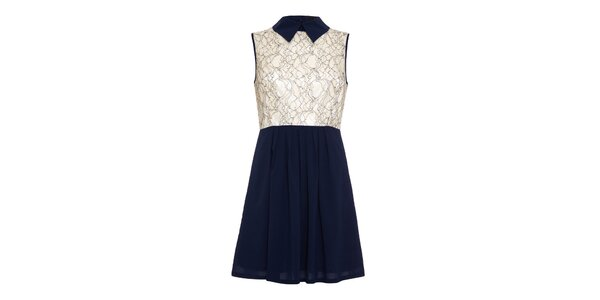 Dámské tmavě modré šaty s krémově bílou vrchní částí Iska