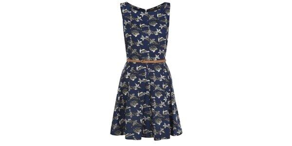 Dámské tmavě modré šaty s potiskem ptáčků Iska