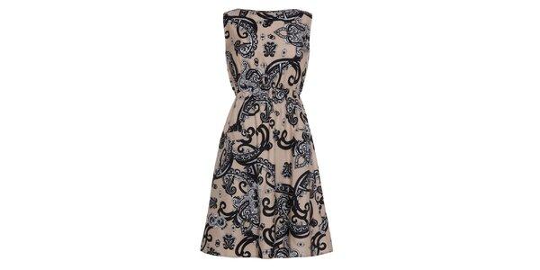 Dámské béžové šaty se vzorem Iska