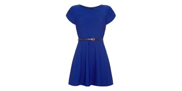 Dámské sytě modré šaty s krátkým rukávem Iska