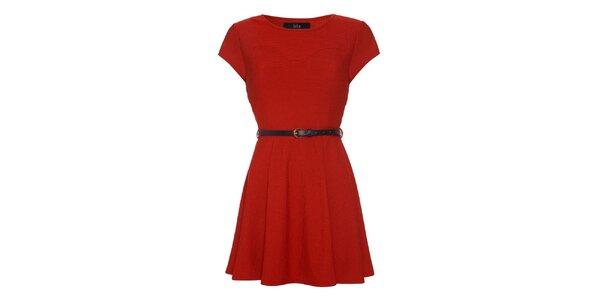 Dámské červené šaty s krátkým rukávem Iska