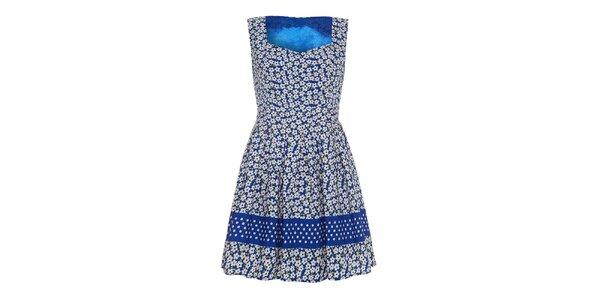 Dámské modré šaty s květinkami a puntíky Iska
