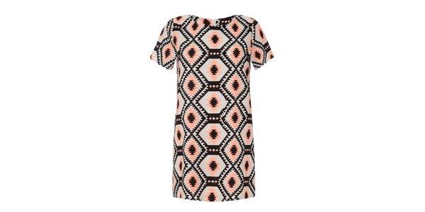Dámské šaty s růžovým a černým vzorem Iska