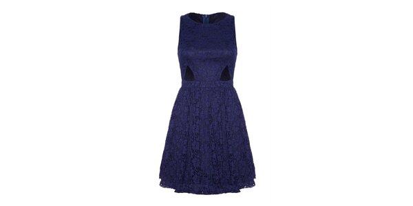Dámské modré krajkové šaty s průstřihy Iska
